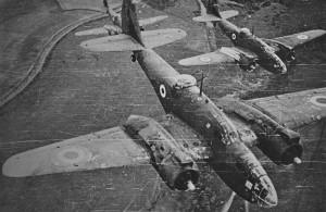 Una formazione di Martin 187 Baltimore dell'Aeronautica Cobelligerante Italiana appartenenti allo Stormo Baltimore inquadrato nella Balkan Air Force.