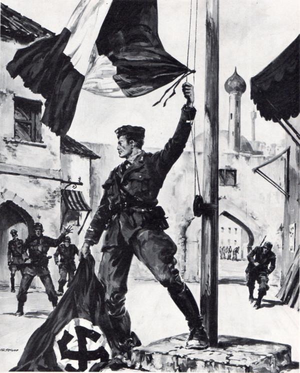 Il sottotenente dei Carabinieri Orazio Petruccelli ammaina la bandiera tedesca sulla piazza di Argostoli, presidiata dai nazisti, e issa il vessillo italiano. Più tardi l'eroico ufficiale verrà fucilato e alla sua memoria sarà concessa la Medaglia d'Oro al Valor Militare.