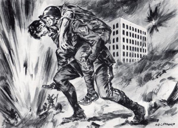 Durante i combattimenti alla Magliana, il vicebrigadiere Giuseppe Cerini, visto cadere l'allievo carabiniere Alfredo Berasini colpito da granate, lo solleva sulle spalle e, percorrendo un lungo tratto di terreno battuto dal fuoco tedesco, lo trasporta al posto di medicazione (MAVM).